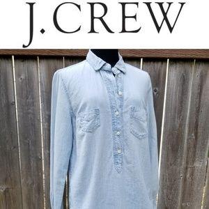 J Crew Chambray Denim Long Sleeve Button Shirt